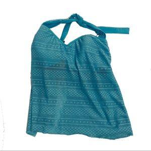 Ellen Tracy Size 16 baby blue Halter Tankini Top